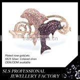 Rose gold plated skull bangle setting ruby and white 3A CZ micro paved fish designs cuffs bangles