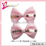 Factory new arrival sequin hair bow tie clip hair accessories,wholesale satin ribbon bow hair clip
