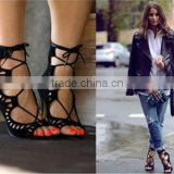 Beautiful Cut Out Lace Up Women High Heel Sandals Ladies Suede Wedge Shoes Sandal