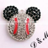 New Arrive! 40*38mm AAA Quality fashion alloy Minnie charm necklaces rhinestone Pendant for kids jewelry making!!