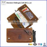 Brown vintage genuine leather chain wallet men's biker wallet with button closure