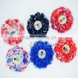 6 pcs lace pearl flower- chiffon pearl flower with crystal centre- shabby lace flower- colorful lace rhinestone flower