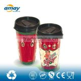 FDA certifited 16OZ double wall coffee travel cup mug with colour paper insert DIY from factory