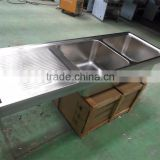 Restaurant Hotel Industrial Kitchen Equipment Custom Stainless Steel Kitchen Sink with Drain Board