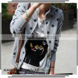2014 Fashion The stars fleece femal slim zipper-up sweatshirt Women Hoodies Outerwear coat