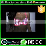 Fashionable new products factory price invisible v deep EL wire light up bra