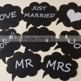 Set of 8 Wedding or Engagement Photo Booth Signs Photobooth Props Speech Bubbles on a Stick Bridal Shower Party Decoration