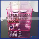 2016 factory directly cheap acrylic makeup organizer with drawers / high quality acrylic makeup case organizer