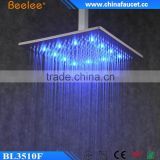 10'' 12'' 16'' Square Brass Wall Mounted Waterfall Shower Head LED Powered by Water Pressure