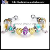 Wholesale glass bead silver plated copper new design artificial bangles                                                                         Quality Choice