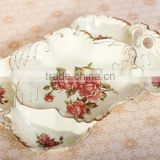 flower pattern beige brushwork plastic resin fruit tray