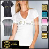 V neck cheap cotton polyester fabric ladies smooth t shirt cheap blank t shirt china wholesale
