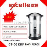 Large Capacity 35L Double layer Stainless Steel Electric Kettle / Hot Water Boiler for Hotel, Restaurant, Office, School