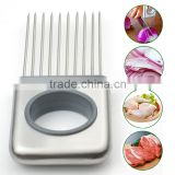 New Easy Onion Holder Slicer, Tomato Cutter, Stainless Steel Kitchen Onion Chopper