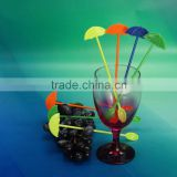 Guangzhou high quality plastic swizzle sticks drink stirrers Acrylic umbrella ice spoon in bar tools