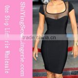 Wholesale price Rose V-neck spandex and rayon bandage dress bd3009