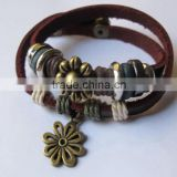 Leather cord charm bracelet punk style leather bracelet multi-layer bracelet Excellent quality classical leather band bracelets