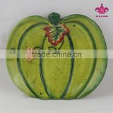 Promotional items Halloween pumpkin shaped hand painted ceramic plates with harvest holiday