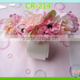 Wholesale artifical hair garlands flowers,pink flower garlands for wedding hair decoration