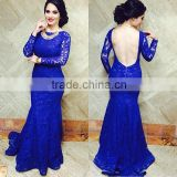 (MY3043) MARRY YOU Modern Long Sleeve Mermaid Lace Royal Blue Prom Dress 2016 Open Back