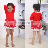 new fashion children's Christmas clothing dresses sweet baby red plain cotton frock for Christmas