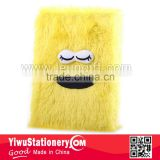Yellow Fluffy Plush Cover big beard Embrodered Plush Notebook