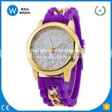 GW015/New Hot Women Fashion Bling Crystal Rhinestone Bezel Geneva Silicone Rubber Jelly Watch
