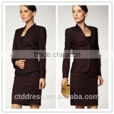 2014 Top Quality 100% wool Classic brown striped three button skirt suit for business women                                                                         Quality Choice