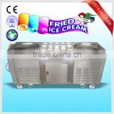 2015 new design double pans fried ice cream / frozen yogurt machine with 10 cooling topping pans