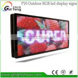 full color p10 outdoor led sign board with p10 led display module 64*160 pixel rgb programable message sign led taxi top diy kit