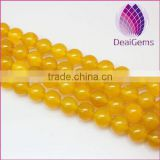 wholesale natural high quality yellow agate round gemstone loose beads