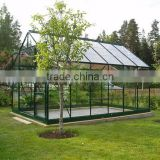 High quality 4mm temperate glass powder coated prefabricated aluminum frame hobby greenhouse
