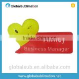 Creative acrylic name badge of special shapes for sublimation