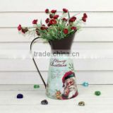 Cute small french decorative tin metal vases for Christmas decoration