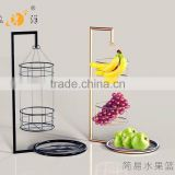 2016 kitchen storage organizer hot sale metal hanging 3 tier fruit basket stand