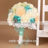 2015 romantic love flower bouquet rose artificial bride and bridesmaid wedding flowers bouquet,PE foam rose,lace flower holder