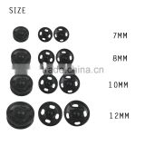 D&D Black 20pcs/lot 7mm/8mm/10mm/12mm Small Metal Snap Fasteners Press Button Sewing Accessory