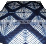 Handmade Indian Shibori Natural Dyed Cotton Quilt Throw Winter Warm Blanket
