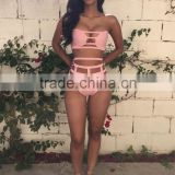 Super sey High waist cut out bikini vintage high waist swimwear black white pink New bandage knit bathing suit