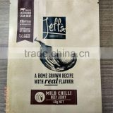 three side sealed paper craft lamination beef jerky packaging bags