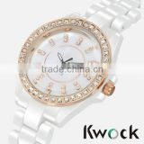 Ladies Estate Vicence White Ceramic Rose Gold Bezel Crystal Watches