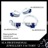 Shengleishi factory directly wholesale micro pave setting 925 sterling silver jewelry simple dark blue sapphire jewelry sets