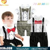 New Arrival Gentleman Kids Clothes Cute baby boy cotton jumpsuits breathable handsome boy clothing tie lace strap baby rompers
