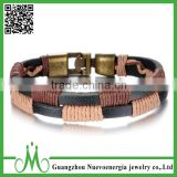 Double Genuine Leather Bracelet Bangle Band Wrap Wrist Cuff Rope Braided Alloy Clasp