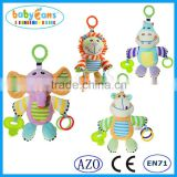 Babyfans 2015 new hanging crib baby toys baby rattle plush toy soft plush elephant teether toys