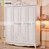 French Baroque Style Hand carved design 4 Door Ivory White MDF wooden bedroom wardrobe                                                                         Quality Choice