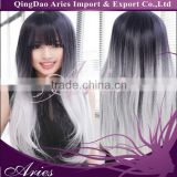 Ombre Sliver Grey Bodywave Synthetic Lace Front Wig Two Tone Natural Black/Gray Heat Resistant Hair Arica Wigs For Women