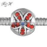 Latest design flower crystal bead fit European charm bead for wholesale FHX038