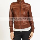 Women leather jacket, Fashion black style high qualtiy,2013 new style slim genuine lamb leather jackets for women with big colla