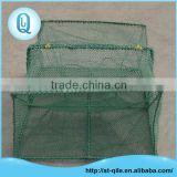 Custom pe net and metal frame large green rectangle folding crab trap net